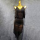 זול הלבשה לריקודים לטיניים-ריקוד לטיני שמלות בגדי ריקוד נשים הצגה ספנדקס סלסולים ללא שרוולים שמלה