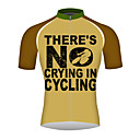 Недорогие Аудио Кабели-21Grams Там нет плача в езде на велосипеде Муж. С короткими рукавами Велокофты - Коричневый Велоспорт Джерси Верхняя часть Дышащий Быстровысыхающий Со светоотражающими полосками Виды спорта 100