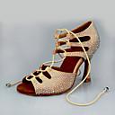 baratos Shall We® Sapatos de Dança-Mulheres Sapatos de Dança Cetim Sapatos de Dança Latina Salto Salto Cubano Amêndoa / Espetáculo / Couro / Ensaio / Prática