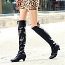 povoljno Ženske čizme-Žene Čizme Stožasta potpetica Okrugli Toe Kopča PU Čizme preko koljena Jesen zima Crn / Bijela / Sive boje