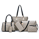 povoljno Komplet torbi-Žene Patent-zatvarač PU Bag Setovi Geometrijski uzorak 6 kom Crn / Obala / Red / Jesen zima