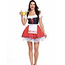hesapli Oktoberfest-Kasım Festivali üstü dar altı geniş elbise Trachtenkleider Kadın's Elbise Bavyera Kostüm YAKUT