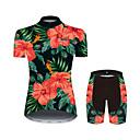 זול סטים של חולצות ומכנסיים\שורטים לרכיבת אופניים-21Grams פרחוני  בוטני הוואי בגדי ריקוד נשים שרוולים קצרים חולצת ג'רסי ומכנס קצר לרכיבה - שחור / אדום אופניים חליפות בגדים נושם פתילת לחות ייבוש מהיר ספורט 100% פוליאסטר רכיבת הרים ביגוד / מיקרו-אלסטי
