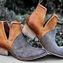 hesapli Kadın Babetleri-Kadın's Düz Ayakkabılar Blok Topuk Yuvarlak Uçlu PU Yaz Siyah / Kırmızı Şarap / Kahverengi