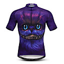 cheap Cycling Jerseys-21Grams Men's Short Sleeve Cycling Jersey Violet 3D Cat Animal Bike Jersey Top Breathable Moisture Wicking Quick Dry Sports Polyester Elastane Mountain Bike MTB Road Bike Cycling Clothing Apparel