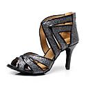 hesapli Latin Dans Ayakkabıları-Kadın's Sentetikler Latin Dans Ayakkabıları Ayrık Renkler Topuklular İnce Topuk Kişiselleştirilmiş Siyah