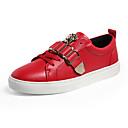 זול סניקרס לנשים-בגדי ריקוד נשים נעלי ספורט שטוח בוהן עגולה PU יום יומי הליכה קיץ לבן / שחור / אדום