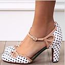 hesapli Çocuk Ayakkabıları-Kadın's Topuklular Kalın Topuk Yuvarlak Uçlu Toka PU İlkbahar & Kış Beyaz / Gri