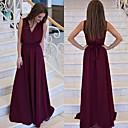 hesapli Gece Elbiseleri-A-Şekilli V Yaka Yere Kadar Şifon ile Resmi Akşam Elbise tarafından JUDY&JULIA