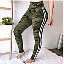 זול בגדי ריצה-בגדי ריקוד נשים סגנון רחוב חותלות מכנסיים - פסים / צבע הסוואה שחור ולבן שחור יין ירוק צבא L XL XXL