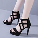 povoljno Ženske sandale-Žene Sandale Stiletto potpetica Peep Toe PU Uglađeni Hodanje Proljeće ljeto / Jesen zima Crn / Zabava i večer
