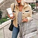 povoljno Slike za cvjetnim/biljnim motivima-Žene Dnevno Normalne dužine Faux Fur Coat, Jednobojni Rolled collar Dugih rukava Umjetno krzno Lila-roza / Sive boje / Žutomrk