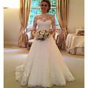 abordables Robes de Mariée 2019-Trapèze Col Haut Traîne Brosse Dentelle Robes de mariée sur mesure avec par LAN TING Express
