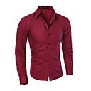 hesapli Erkek Gömlekleri-Erkek Gömlek Solid Siyah / Uzun Kollu
