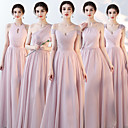 זול שמלות שושבינה-מעטפת \ עמוד צווארון V / קולר / כתפיה אחת עד הריצפה שיפון שמלה לשושבינה  עם סלסולים על ידי LAN TING Express