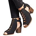 hesapli Kadın Sandaletleri-Kadın's Sandaletler Kalın Topuk Yuvarlak Uçlu PU Yaz Siyah / Haki