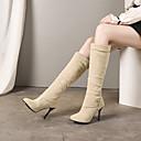 povoljno Ženske čizme-Žene Čizme Stiletto potpetica Okrugli Toe PU Čizme do koljena Vintage / Uglađeni Jesen zima Crn / Bež / Zabava i večer