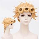 povoljno Anime kostimi-JoJo je Bizarno Avantura Cosplay Cosplay Wigs Žene 18 inch Otporna na toplinu vlakna Zlatna Zlatan Anime
