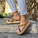 hesapli Kadın Sandaletleri-Kadın's Sandaletler Platform Açık Uçlu PU Günlük / Minimalizm İlkbahar & Kış / İlkbahar yaz Gökküşağı