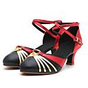 baratos Sapatos de Salsa-Mulheres Sapatos de Dança Sintéticos Sapatos de Dança Moderna Salto Salto Cubano Preto e Dourado / Vermelho / Preto / Vermelho / Ensaio / Prática
