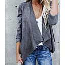 hesapli Kadın Topukluları-Kadın's Günlük Temel Normal Kaban, Solid Gömlek Yaka Uzun Kollu Polyester Beyaz / Siyah / Gri
