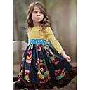 povoljno Movie & TV Theme Costumes-Djeca Djevojčice Slatka Style Cvjetni print Dugih rukava Do koljena Haljina Navy Plava / Pamuk