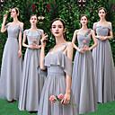 זול שמלות שושבינה-מעטפת \ עמוד צווארון V / סטרפלס / רצועות עד הריצפה שיפון שמלה לשושבינה  עם סלסולים על ידי LAN TING Express