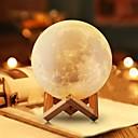 זול ה לד תאורה חכמה-månlampa led nattlampa 3d jordklot ljusstyrka usb laddning laddningsbart hem dekorativt för baby barn nyår julklapp trä stativ 12 cm 4.7 tum