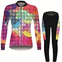 povoljno Biciklističke majice-21Grams Žene Dugih rukava Biciklistička majica s tajicama Pink / Black Duga Bicikl Sportska odijela Ugrijati Prozračnost Quick dry Anatomski dizajn Ultraviolet Resistant Zima Sportski Duga Brdski