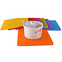 cheap Dinnerware-17.7cm * 17.7 cm  Thick Silicone Placemat Waterproof Table Insulation Pad Baking Mat Solid Color Children'S Student Placemat 1Pc
