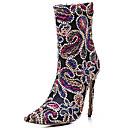povoljno Ženske čizme-Žene Čizme Stiletto potpetica Krakova Toe Poliester Čizme do pola lista Proljeće & Jesen Crn / Crvena / Dark Blue
