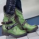 abordables Bottes Tendance-Femme Bottes Block Heel Bout rond Polyuréthane Bottes Mi-mollet Automne hiver Noir / Violet / Vert