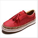זול מוקסינים לנשים-בגדי ריקוד נשים נעליים ללא שרוכים שטוח בוהן עגולה פרנזים PU קיץ שחור / ירוק / אדום