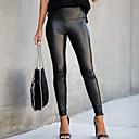 povoljno Kožne hlače i suknje-Žene Ulični šik Uske Slim Hlače - Jednobojni Crna PU Crn S M L