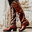 זול מגפי נשים-בגדי ריקוד נשים מגפיים עקב עבה בוהן עגולה PU מגפיים עד הברך סתיו חורף שחור / חום / אפור