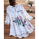 povoljno Modne naušnice-Veći konfekcijski brojevi Majica Žene - Kinezerije / Elegantno Cvjetni print V izrez Širok kroj, Print Obala
