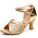 povoljno Cipele za latino plesove-Žene Plesne cipele PU Cipele za latino plesove Štikle Kubanska potpetica Crn / Zlato / Srebro / Vježbanje