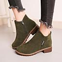 זול נעלים שטוחות לנשים-בגדי ריקוד נשים מגפיים חסום את העקב בוהן עגולה סוויד סתיו / חורף שחור / צהוב / ירוק