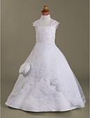 Χαμηλού Κόστους Λουλουδάτα φορέματα για κορίτσια-Γραμμή Α Μακρύ Φόρεμα για Κοριτσάκι Λουλουδιών - Οργάντζα / Σατέν Αμάνικο Τετράγωνη Λαιμόκοψη με Χάντρες με LAN TING BRIDE® / Άνοιξη / Καλοκαίρι / Φθινόπωρο / Χειμώνας / Πρώτη Κοινωνία