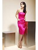 hesapli Nedime Elbiseleri-Sütun Straplez Diz Boyu Streç Saten Cep ile Nedime Elbisesi tarafından LAN TING BRIDE®