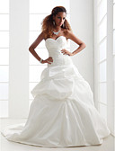 Χαμηλού Κόστους Βραδινά Φορέματα-Γραμμή Α Καρδιά Μακριά ουρά Σατέν / Ταφτάς Φορέματα γάμου φτιαγμένα στο μέτρο με Χάντρες / Διακοσμητικά Επιράμματα / Φούστα με πιασίματα με LAN TING BRIDE®