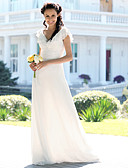 cheap Wedding Dresses-Mermaid / Trumpet V Neck Floor Length Chiffon Made-To-Measure Wedding Dresses with Ruched by LAN TING BRIDE® / Petal Sleeve