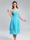Χαμηλού Κόστους Φορέματα Παρανύμφων-Γραμμή Α Πριγκίπισσα Στράπλες Καρδιά Μέχρι το γόνατο Σιφόν Φόρεμα Παρανύμφων με Που καλύπτει Πιασίματα Χιαστί με LAN TING BRIDE®