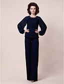 cheap Prom Dresses-Sheath / Column Jewel Neck Floor Length Chiffon Mother of the Bride Dress with Beading by LAN TING BRIDE® / Bishop Sleeve