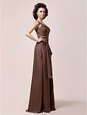 cheap Mother of the Bride Dresses-A-Line Straps Floor Length Chiffon Mother of the Bride Dress with Beading / Side Draping / Ruffles by LAN TING BRIDE®