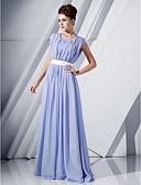preiswerte Abendkleider-A-Linie U-Ausschnitt Boden-Länge Chiffon Formeller Abend Kleid mit Paillette / Schärpe / Band durch TS Couture®
