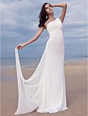 preiswerte Hochzeitskleider-Eng anliegend Ein-Schulter Pinsel Schleppe Chiffon Maßgeschneiderte Brautkleider mit Seiten-drapiert durch LAN TING BRIDE® / Rückenfrei