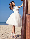 cheap Wedding Dresses-Ball Gown Bateau Neck Knee Length Satin / Tulle Made-To-Measure Wedding Dresses with Draping by LAN TING BRIDE® / Beach / Destination