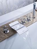 hesapli Parti Çorapları-Küvet Muslukları - Çağdaş Krom Roma Küveti Seramik Vana Bath Shower Mixer Taps / Pirinç / Üç Kolları Beş Delik