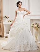 povoljno Vjenčanice-Krinolina Srcoliki izrez Srednji šlep Taft Izrađene su mjere za vjenčanja s Perlica / Aplikacije / Uštipnuti nabori po LAN TING BRIDE®